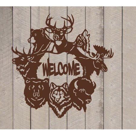 Decal ~ Welcome ~ Wildlife Animals ~ Wall or Door Decal (Brown, 13