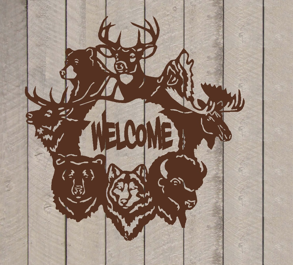 """Decal ~ Welcome ~ Wildlife Animals ~ Wall or Door Decal (Brown, 13"""" x 13"""")"""