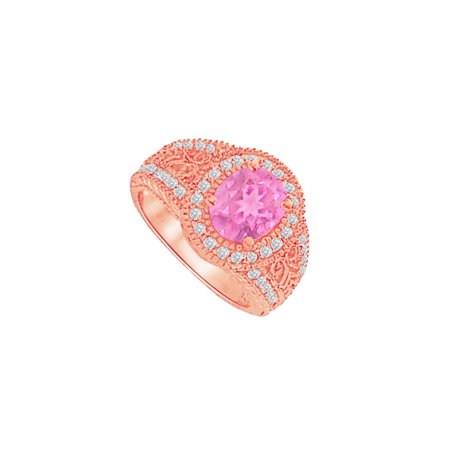 Pretty Pink Sapphire and CZ Filigree Ring 2.00 CT TGW - image 2 of 2