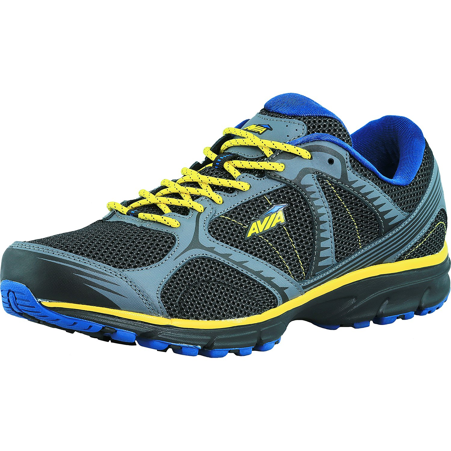 Avia Men's A5678Mbvd Black   Iron Grey   Glow Yellow   Royal Blue Ankle-High Running Shoe 14W by Avia