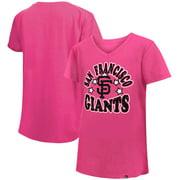 San Francisco Giants New Era Girls Youth Jersey Stars V-Neck T-Shirt - Pink