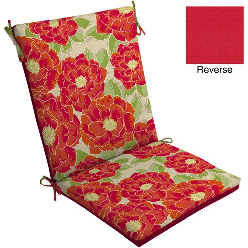 Mainstays Outdoor Chair Cushion Red Posey Walmart Com