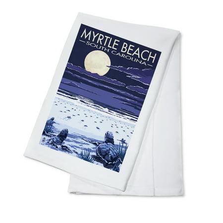 Myrtle Beach, South Carolina - Baby Sea Turtles - Lantern Press Poster (100% Cotton Kitchen Towel)