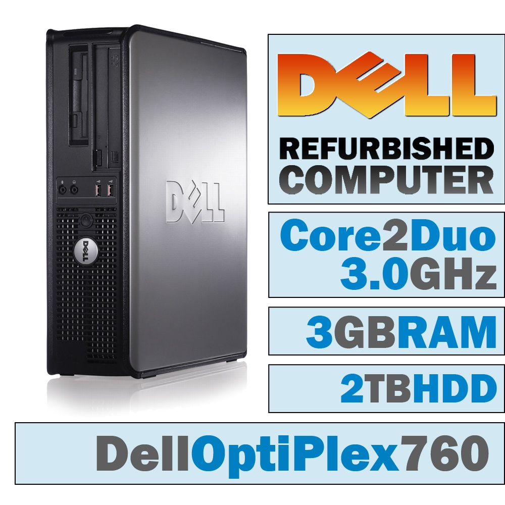 REFURBISHED Dell OptiPlex 760 DT/Core 2 Duo E8400 @ 3.00 GHz/3GB DDR2/2TB HDD/DVD-RW/WINDOWS 10 HOME 32 BIT