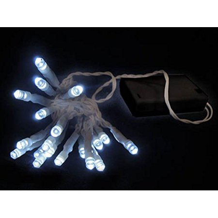 20 battery operated cool white clear led wide angle christmas lights with timer - Battery Christmas Lights With Timer
