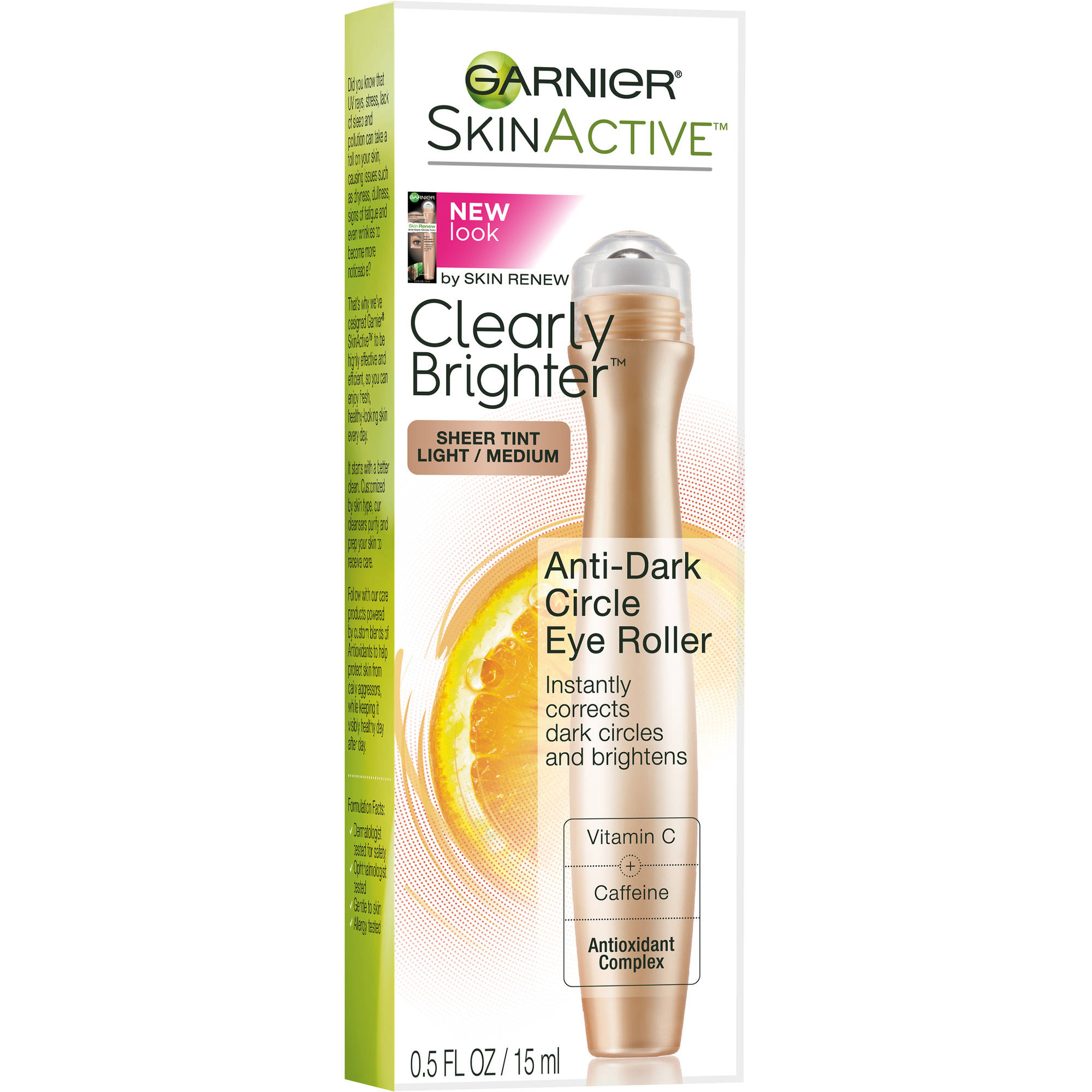 Garnier SkinActive Clearly Brighter Anti-Dark Circle Eye Roller, Light/Medium, 0.5 fl oz