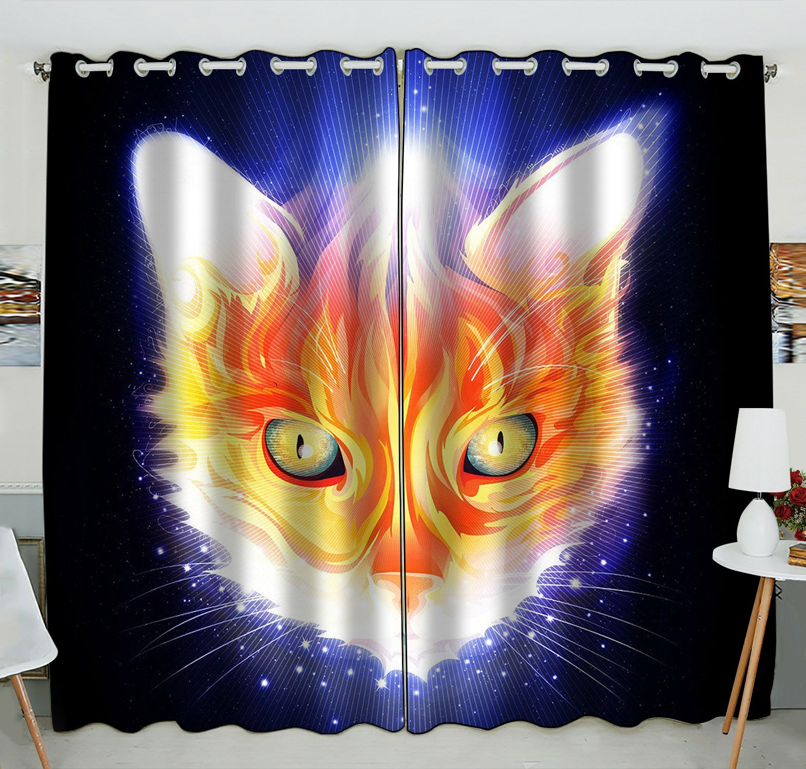 ZKGK Animals Kitten Cat Window Curtain Drapery/Panels/Treatment For Living Room Bedroom Kids Rooms 52x84 inches Two Panel