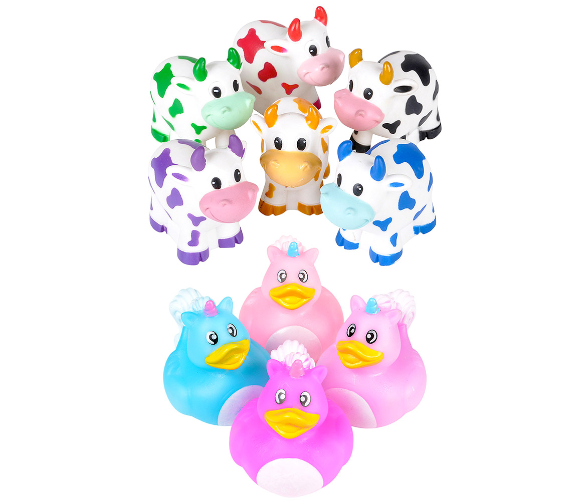 Bulk Party Favors and Bath Toys Rhode Island Novelty Assorted Colorful Rubber Cow Water Squirters (12pc Set)... by Mozlly