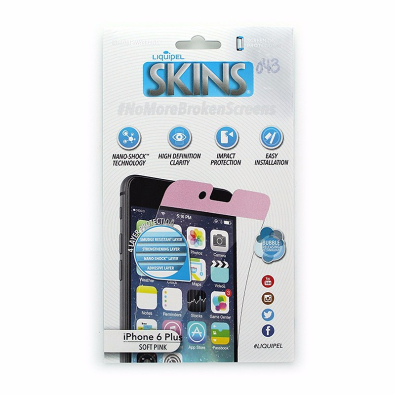 Liquipel Soft Pink SKINS Screen Protector for Apple iPhone 6 Plus 6S Plus