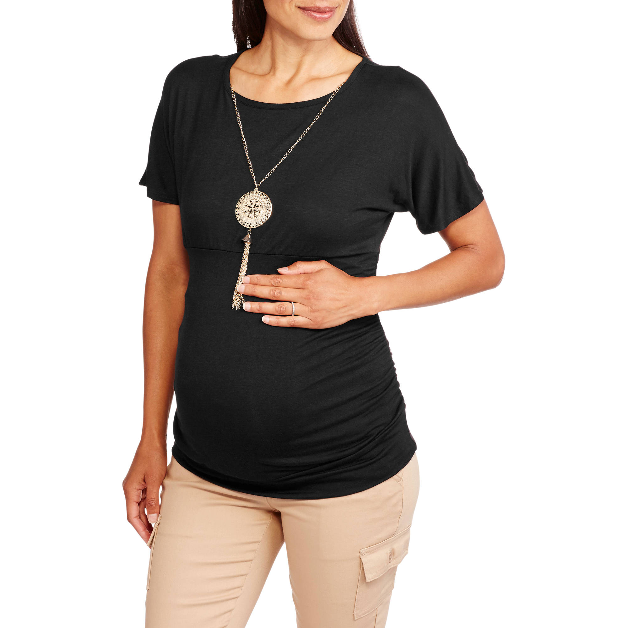 Due Time Maternity Short Sleeve Empire Waist Top with Side Ruching