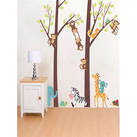 Jungle Animal Tree Kids Baby Nursery Wall Sticker Mural Decor Decal (Baby Mural)