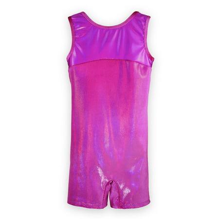 Gymnastics Biketard for Girls - Princess Berry Pink Hologram Velvet - Leap Gear by Pelle - 4 | Child Small