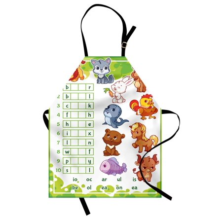 Word Search Puzzle Apron Rebus Game with Animals for Preschool Kids Find Correct Part of Words, Unisex Kitchen Bib Apron with Adjustable Neck for Cooking Baking Gardening, Multicolor, by Ambesonne - Halloween Cooking For Preschool