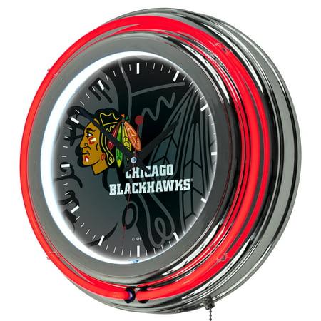 NHL Chrome Double Rung Neon Clock - Watermark - Chicago
