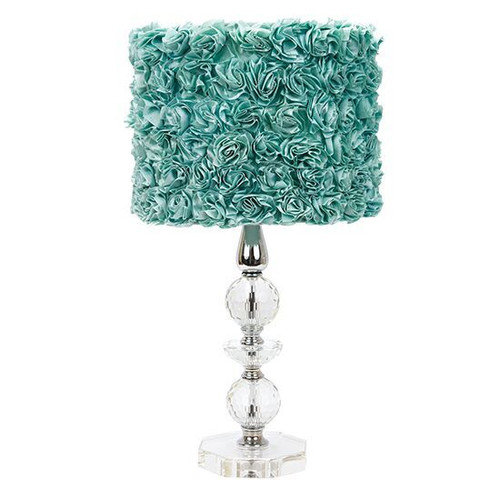 Jubilee Collection Crystal Tower 24'' H Table Lamp with Rose Garden Drum Shade