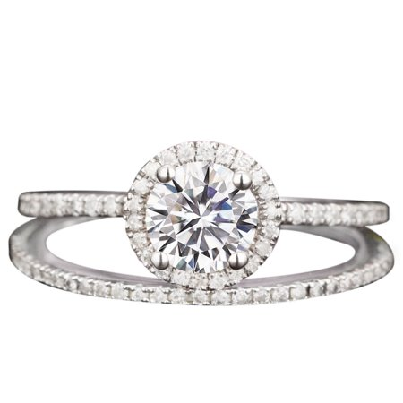 2 Carat Round cut Moissanite and Diamond Halo pave Bridal Wedding Ring Set in White -