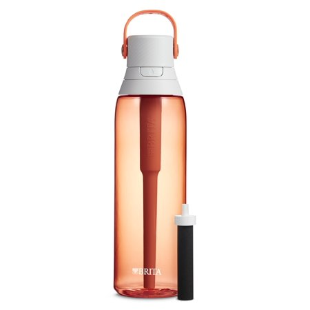 Brita 26 Ounce Premium Filtering Water Bottle with Filter BPA Free Coral