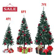Topcobe 6FT Artificial Christmas Tree, Green Christmas Tree Unlit w/Solid Stand, Christmas Holiday Festival Decorations for Indoor Easy Assembly