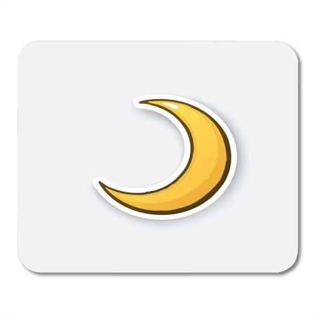 SIDONKU Golden Crescent Cartoon Half Moon Sticker in Comic Style with Contour for Patches Prints for Emblems Mousepad Mouse Pad Mouse Mat 9x10 inch](Crescent Moon Cartoon Halloween)