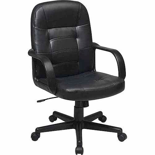 Office Star Worksmart Leather Mid-Back Office Chair, Black