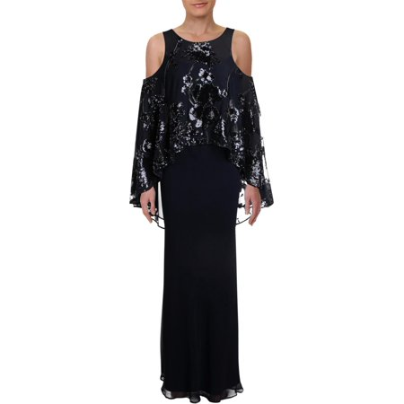 Lauren Ralph Lauren Womens Thackery Sequined Cold Shoulder Evening