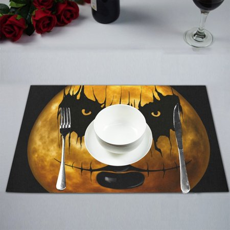 MYPOP Holiday Party Event Gothic Moon Night Ghost Table Placemat Food Mat 12x18 Inches Non Slip Table Mat