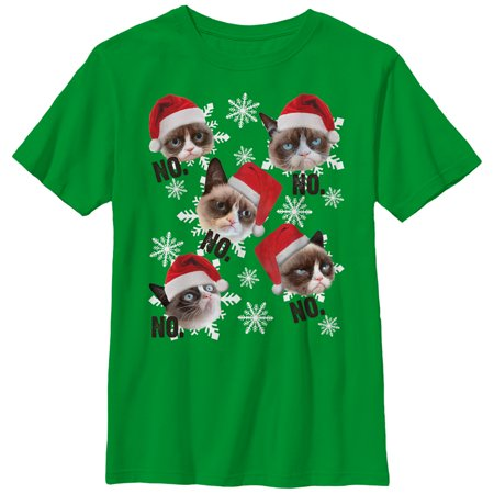 dbb049100 Grumpy Cat - Grumpy Cat Boys' Ugly Christmas Sweater Snowflake No T-Shirt -  Walmart.com