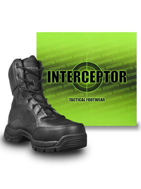 Interceptor Men's Force Tactical Steel Toe Work Boots, Black Leather