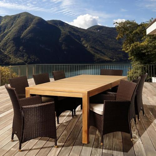 Amazonia Teak Zoe 9-piece Teak and Wicker Outdoor Dining Room Set by Overstock