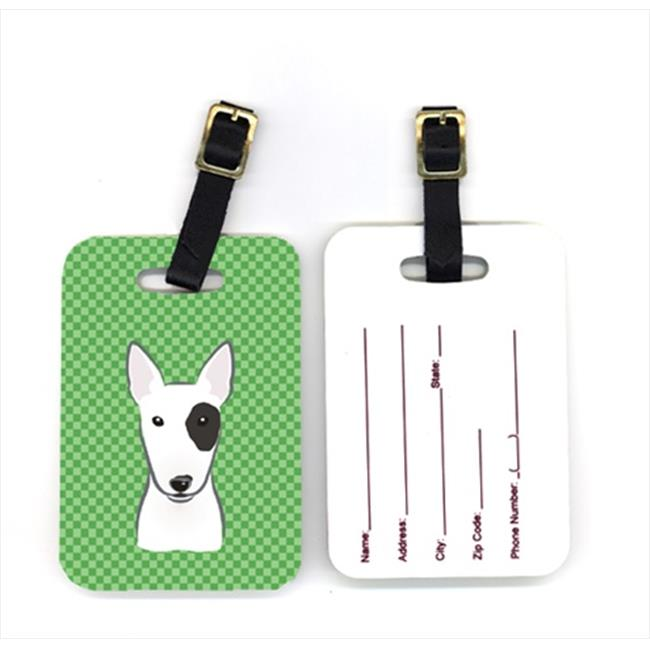 Carolines Treasures BB1132BT Pair of Green Checkered Bull Terrier Luggage Tags - image 1 de 1