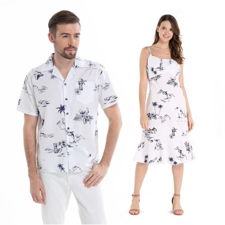 Couple Matching Hawaiian Luau Cruise Outfit Shirt Dress Classic Map White Flamingo Men S Women - Homecoming Couples Outfits