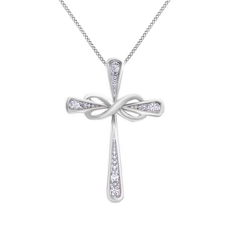White Natural Diamond Accent Infinity Cross Pendant Necklace 14K White Gold Over Sterling Silver