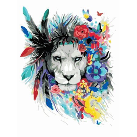 Enjoyofmine DIY Digital Oil Painting, Colorful Cool Animal Frameless Modern Wall Art Picture - Hand Painted Picture Home Wall Decor Crafts By Numbers Drawing Colors Canvas 40 * 50cm