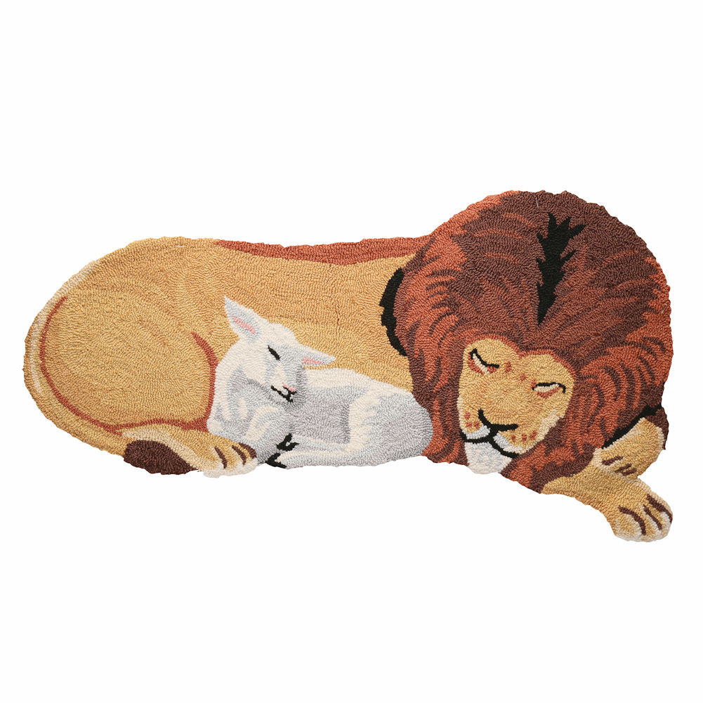 Peace On Earth Lion And Lamb Hooked Accent Rug