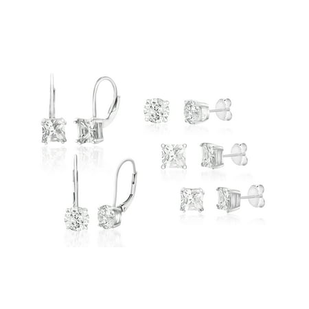 International Silver Plated - Cubic Zirconia Stud and Lever Back 5 Piece Earring Set in Rhodium Plated Sterling Silver