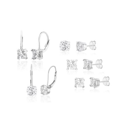 Cubic Zirconia Stud and Lever Back 5 Piece Earring Set in Rhodium Plated Sterling (Design Silverplate)