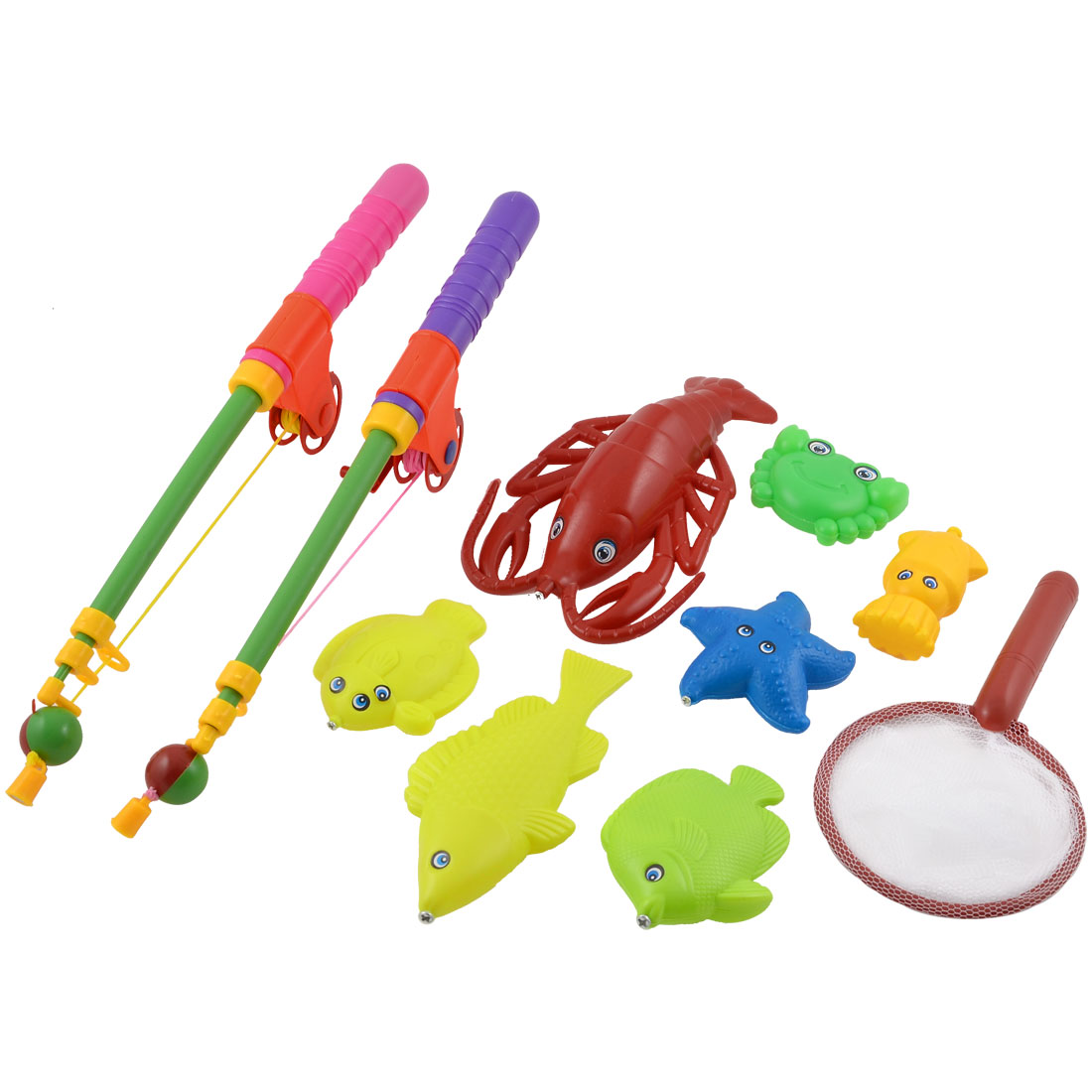 Children Colorful Plastic Magnet Fish Starfish Fishing Game Toy Set 10 in 1