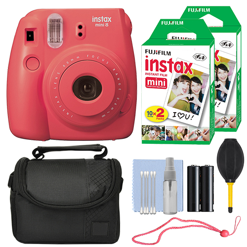 Fuji FujiFilm Instax Mini 8 Instant Film Camera Rasberry + 40 Film Accessory Kit by Fujifilm