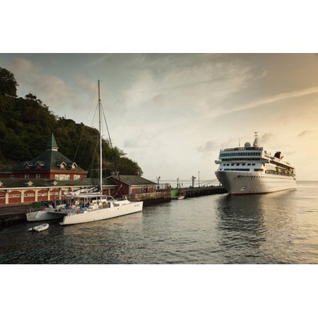 Cruise ship at port, Kingstown, Saint Vincent Island, Saint Vincent And The Grenadines Print Wall Art - City Of Port Saint Lucie