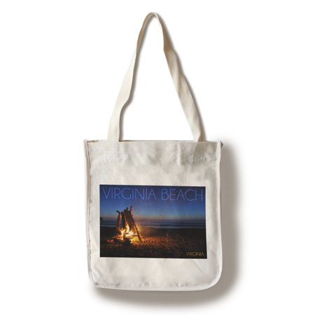Virginia Beach, Virginia - Bonfire on the Beach - Lantern Press Photography (100% Cotton Tote Bag - - Beach Bonfire Ideas