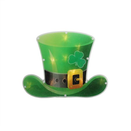 "12.5"" B/O LED Lighted Irish St. Patrick's Day Leprechaun Hat Window Silhouette Decoration with Timer"