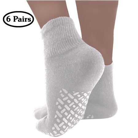 Diabetic Socks Mens Womens Non-slip Grip Cotton 6-Pack Ankle White By DEBRA WEITZNER