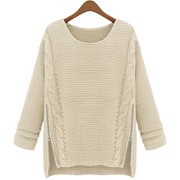 Womens Uneven Sweater with Side Zippers