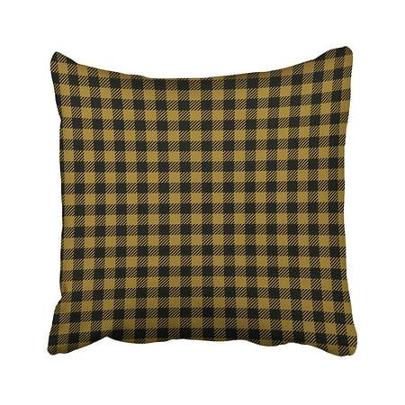 ARTJIA Black Abstract Gold Ocher Lumberjack Buffalo Plaid Yellow Checkered Diagonal Pillowcase Cushion Cover 20x20
