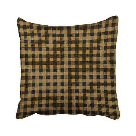 ARTJIA Black Abstract Gold Ocher Lumberjack Buffalo Plaid Yellow Checkered Diagonal Pillowcase Cushion Cover 20x20 inch