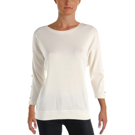 RALPH LAUREN Womens White Slitted 3/4 Sleeve Jewel Neck Top Size: XL