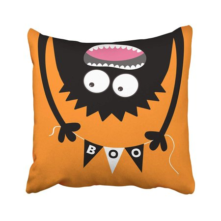 CMFUN Happy Halloween Screaming Monster Head Silhouette Bunting Flags Pack Boo Letters Pillow Case Pillow Cover 16x16 inch Throw Pillow Covers