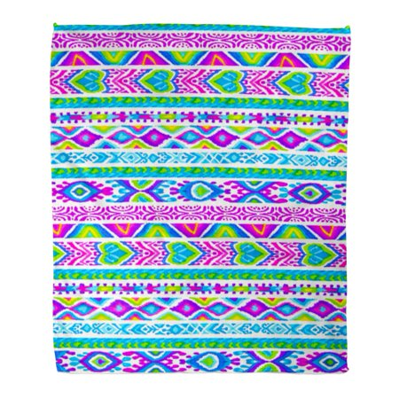 ASHLEIGH Flannel Throw Blanket Tribal Pattern Friendship Bracelet Ornamental Ribbons Colorful Symbol Soft for Bed Sofa and Couch 50x60 Inches](Friendship Bracelet Pattern)