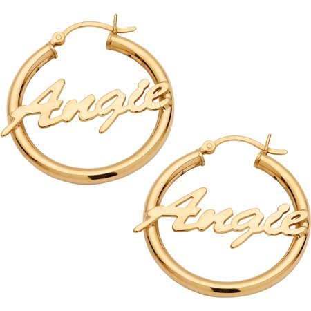 Personalized 14kt Gold Plated Sterling Silver Name Hoop Earrings 14k Gold Name Earrings
