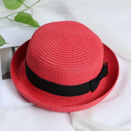 Girl Red Soft Straw Round Top Fedora Hat Ribbon Bowler 2